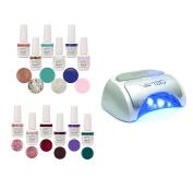 Gelish Harmony 18G Salon Gel Nail Polish Curing LED Lamp + 12 Bottles of Colour
