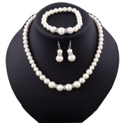 Necklace, Hatop Natural Freshwater Pearl Necklace Bracelet Earrings fashion Jewellery Set