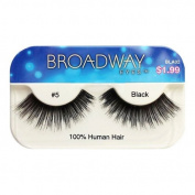 Broadway Eyes False Strip Eyelashes 100% Human Hair Black #5, BLA02