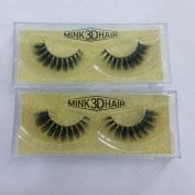 False Eyelashes 3D Mink Fur Fake Eyelashes Cross Style 2 Pair Eye Lash Beauty Box