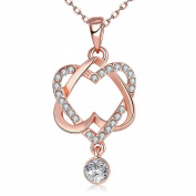 ROSENICE Girls Necklaces Rose Gold Plated Double Love Heart Necklace for Friend And Lover