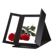 Miss Sweet Leather Tri-fold Makeup Mirror Travel Mirror Compact Mirror Purse Mirror for Beauty Makeup Mirror Size 35cm 22cm