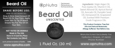 OpNutra Beard Oil Unscented Scented Beard Oil