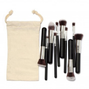 Tenworld 10 Pcs Makeup Brushes Set Make up Kits with Drawstring Makeup Bag