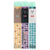 Long light green chequered pattern bear cat panda eraser from Japan