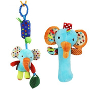 SKK Baby Soft Hand Rattle + Clip on Wind Chime Teether Toy Gift For Newborn to Kids Elephant