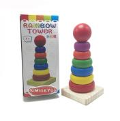 Wooden Building Blocks Toys For Kids Mini - Rainbow Tower Children 'S Montessori Educational Toys