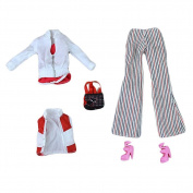 5 Pieces Doll Outfits - Doll Shoes, Doll Trousers, Handbag and High Heels Set