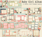 Baby Girl Album Scrapbook Kit - 13 Double Page Layouts