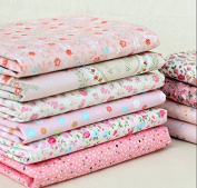 Generic Quarter Cotton Fabric Pink Little Flower Bundle Quilting Sewing Fabric 8 Designs Handicraft Arts Material Size 50cmx40cm Colour Pink