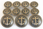 YCEE 11 Piece Vintage Antique Brass Metal Blazer Button Set - Naval Anchor - For Blazer, Sport Coat, Uniform, Jacket