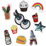 Mily Assorted Embroidery Patches Iron On Appliques Decal Sticker for Denim Jeans Jacket Handbag Shoe