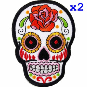 Pack of 2 White Novelty Iron on Skull Candy Embroidered Patch / Badge Motorcycle Biker