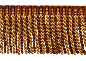 7.6cm Long Bullion Fringe Trim, Style# DB3 - Brown, Light Gold - English Toffee 08