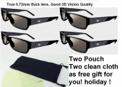 New 3d Theatre 3d Glass - Pack of 4 (Free Gift Two Pouch + Two Cleaning Clotth) Fit for Vizio M3d421sr M3d420sr M3d460sr M3d550sr E3d320vx E3d420vx 3d Tv Vizio Passive Type 3d Tv