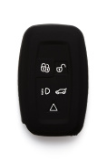 Silipac Black Protective Silicone Car Key Cover Keyless Entry Remote Holder Rubber Case Skin Fob Protector Shell 5 Smartkey Buttons for Land Rover Range Rover Evoque Discovery