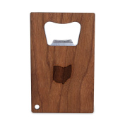 Ohio Bottle Opener With Wood, Stainless Steel Credit Card Size, Bottle Opener For Your Wallet, Credit Card Size Bottle Opener