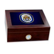 Premium Desktop Humidor - Glass Top -US Navy USS Vella Gulf (CG 72), cruiser emblem