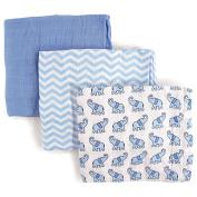 Luvable Friends 3 Piece Muslin Swaddle Blankets, Elephant, Boy