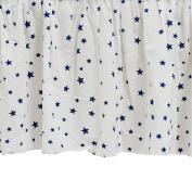 Zack & Tara Crib Skirt - Stars in Navy on White