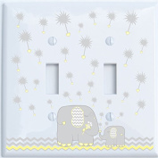 Grey and Yellow Dandelion Elephant Light Switch Plates Covers / Double Toggle / Elephant Nursery Decor