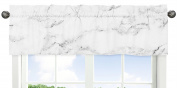 Window Treatment Valance for Modern Grey, Black and White Marble Collection