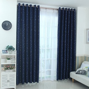 Navy Blue Star Pattern Blackout Insulated Window Treatments Drapes Curtains Set of 2 Panels 130cm x 220cm