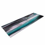 "KESS InHouse Yoga Mat Hitidesign ""Mixed Brush Strokes"" Teal black Painting Yoga Mat, 180cm x 60cm"
