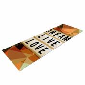 "KESS InHouse Yoga Mat alyZen Moonshadow ""Dream It (Beige)"" Green Typography Yoga Mat, 180cm x 60cm"