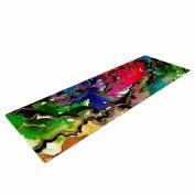 """KESS InHouse Yoga Mat Ebi Emporium """"Summer Swells"""" Multicolor Magenta Watercolour Yoga Mat, 180cm x 60cm"""