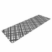 "KESS InHouse Yoga Mat Bruce Stanfield ""The Bauhaus Grid"" Grey White Digital Yoga Mat, 180cm x 60cm"
