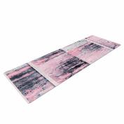 """KESS InHouse Yoga Mat Nina May """"Tavertina Pink"""" Grey Pink Mixed Media Yoga Mat, 180cm x 60cm"""