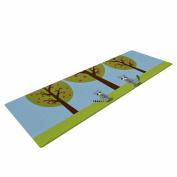 "KESS InHouse Yoga Mat Cristina Bianco Design ""Cute Raccoons & Apple Trees"" Green Blue Illustration Yoga Mat, 180cm x 60cm"