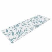 "KESS InHouse Yoga Mat Zara Martina ""Leafy Silhouettes"" White Blue Painting Yoga Mat, 180cm x 60cm"