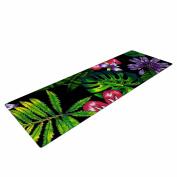 "KESS InHouse Yoga Mat Victoria Krupp ""Doodle Tropic"" Green Pink Yoga Mat, 180cm x 60cm"