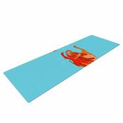 "KESS InHouse Yoga Mat Barmalisirtb ""Koi Cat"" Aqua Orange Yoga Mat, 180cm x 60cm"