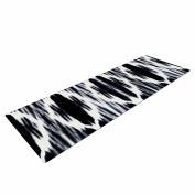 """KESS InHouse Yoga Mat Nika Martinez """"Boheme"""" black White Ikat Yoga Mat, 180cm x 60cm"""