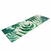 "KESS InHouse Yoga Mat Viviana Gonzalez ""Botanical Vibes"" Green Beige Watercolour Yoga Mat, 180cm x 60cm"