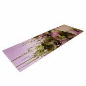"KESS InHouse Yoga Mat Ebi Emporium ""Beauty in The Rain, Olive Pink"" Green Lavender Yoga Mat, 180cm x 60cm"
