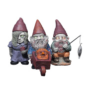 Thumbs Up Mini Zombie Gnomes - Set of 3 - Handcrafted Terracotta & Weather-Resistant