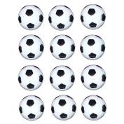 12 pcs 32mm Small Plastic Soccer Black / White Table Foosball Ball