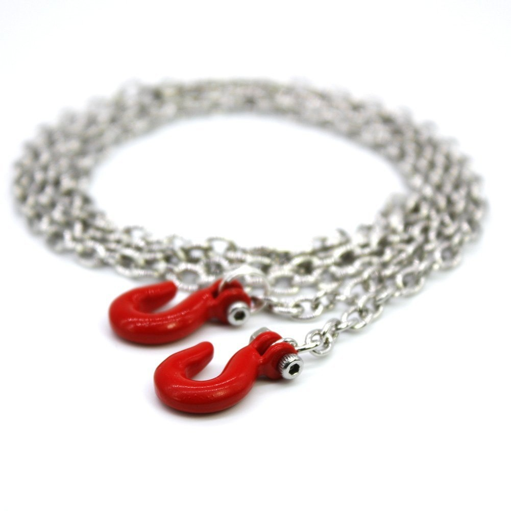 1/10 Scale Metal RC Chain With Hooks Red 100CM Length RC Crawler Truck  Accessories