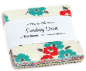 Sunday Drive Mini Charm Pack By Pat Sloan; 110cm - 6.4cm Precut Fabric Quilt Squares