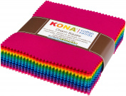 Kona Cotton Bright 101 Palette Charm Square 101 13cm Squares Charm Pack Robert Kaufman CHS-564-101