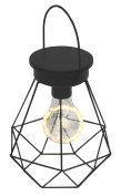 Retro Hanging or Table Top Black Wire Lamp with LED Bulb - Battery Operated
