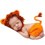 AiXiAng Baby Newborn Photography Prop Baby Handmade Crochet Knitted Costume Christmas Lion Cap and Pants Set Baby Photo Props