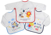 Baby Bib with Sleeves Set Of Three Boys Girls or Unisex 6-18 month Approx...