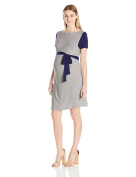 Three Seasons Maternity Women's Short Sleeve Colorblock Belted Dress