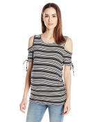 Three Seasons Maternity Women's Cold Shoulder Elbow Sleeve Stripe Side Ruche Top
