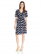 Three Seasons Maternity Women's Elbow Sleeve Surplice Print Dress